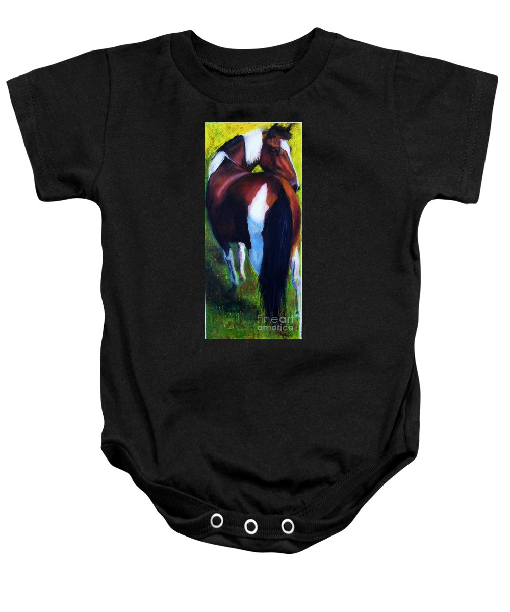 Horses Baby Onesie featuring the painting The Paint by Frances Marino
