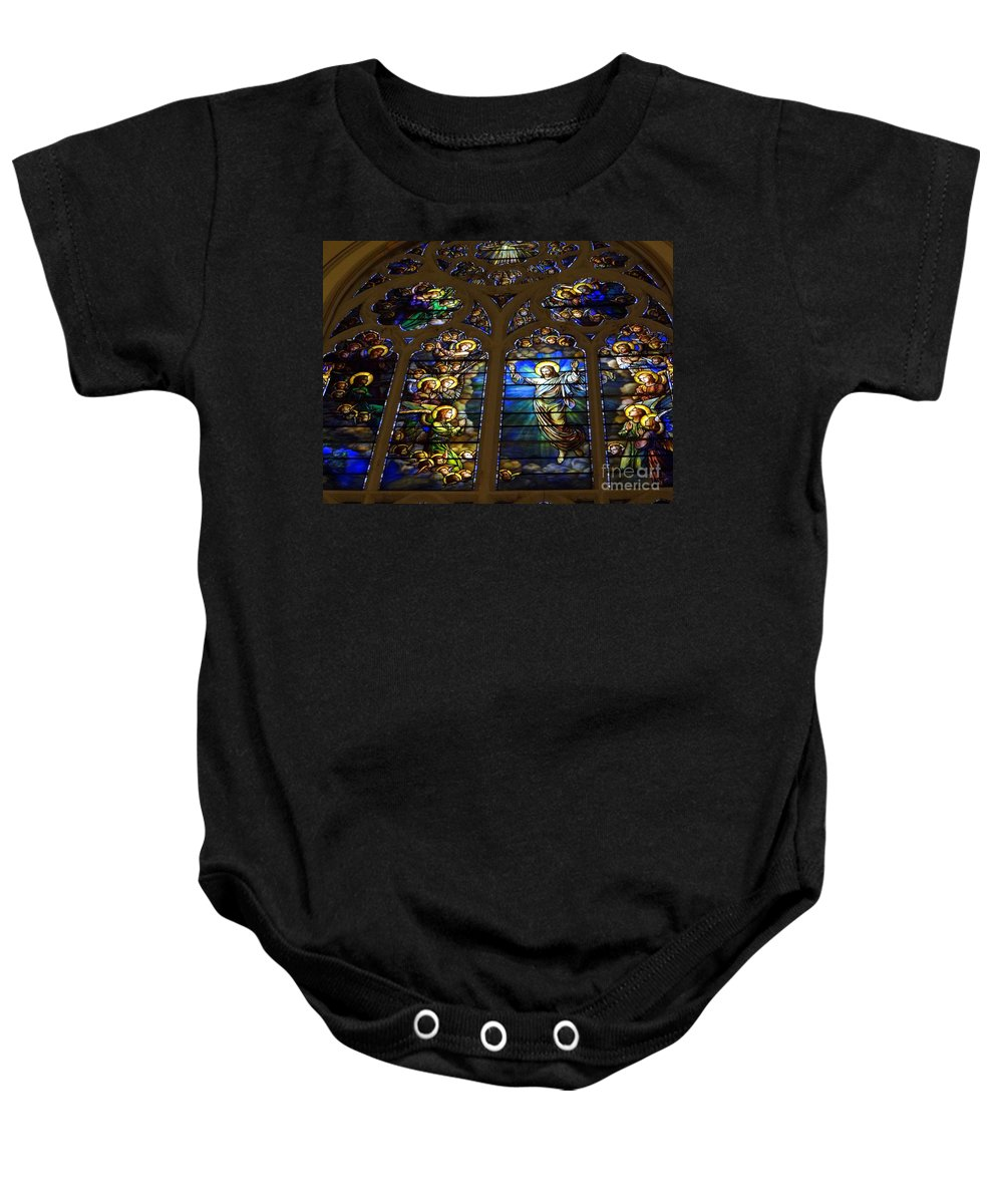 Stained Glass Baby Onesie featuring the photograph The Panes Of Love by Ed Weidman