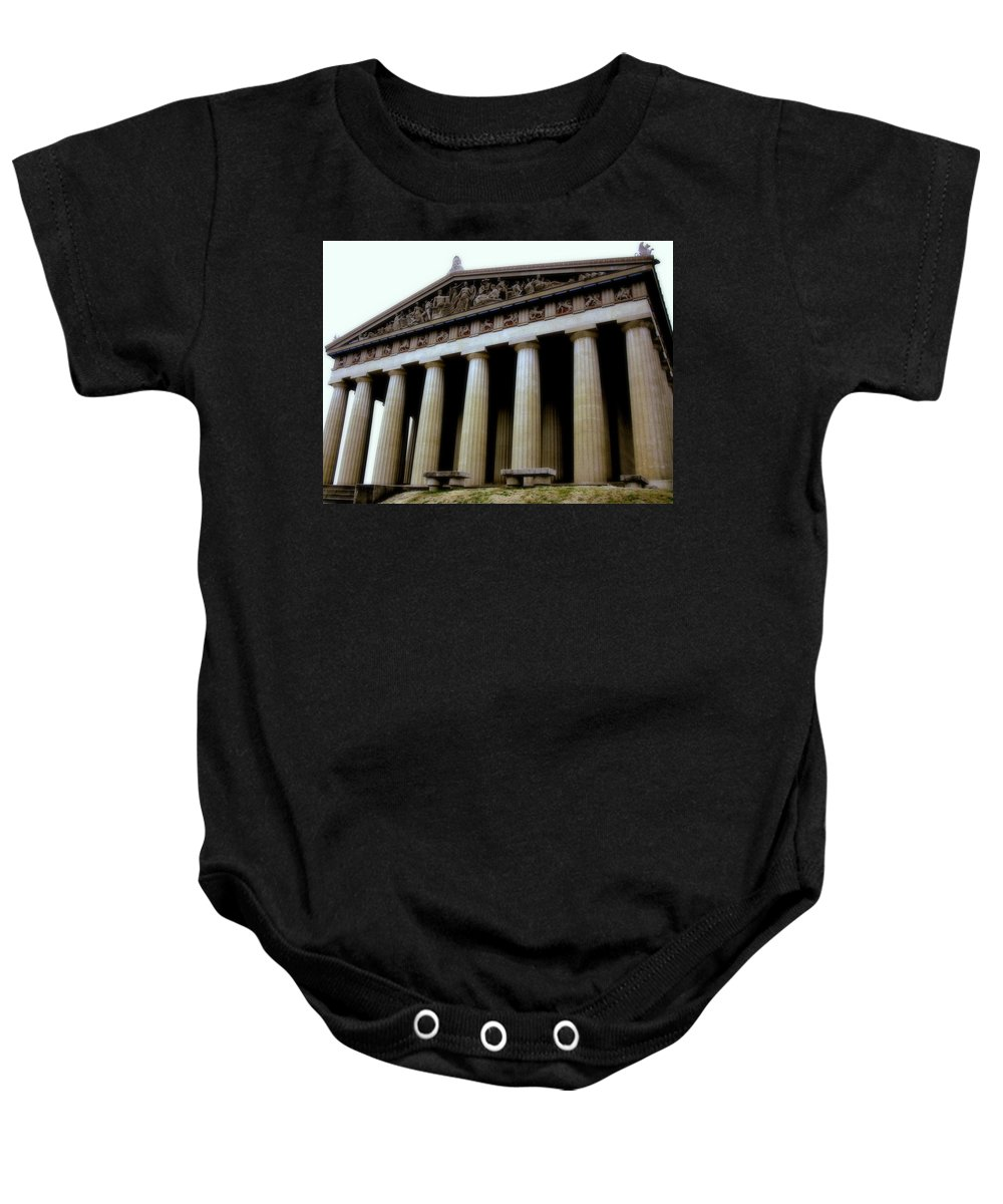 Architecture Baby Onesie featuring the photograph The Parthenon Nashville Tn by Jodie Marie Anne Richardson Traugott     aka jm-ART