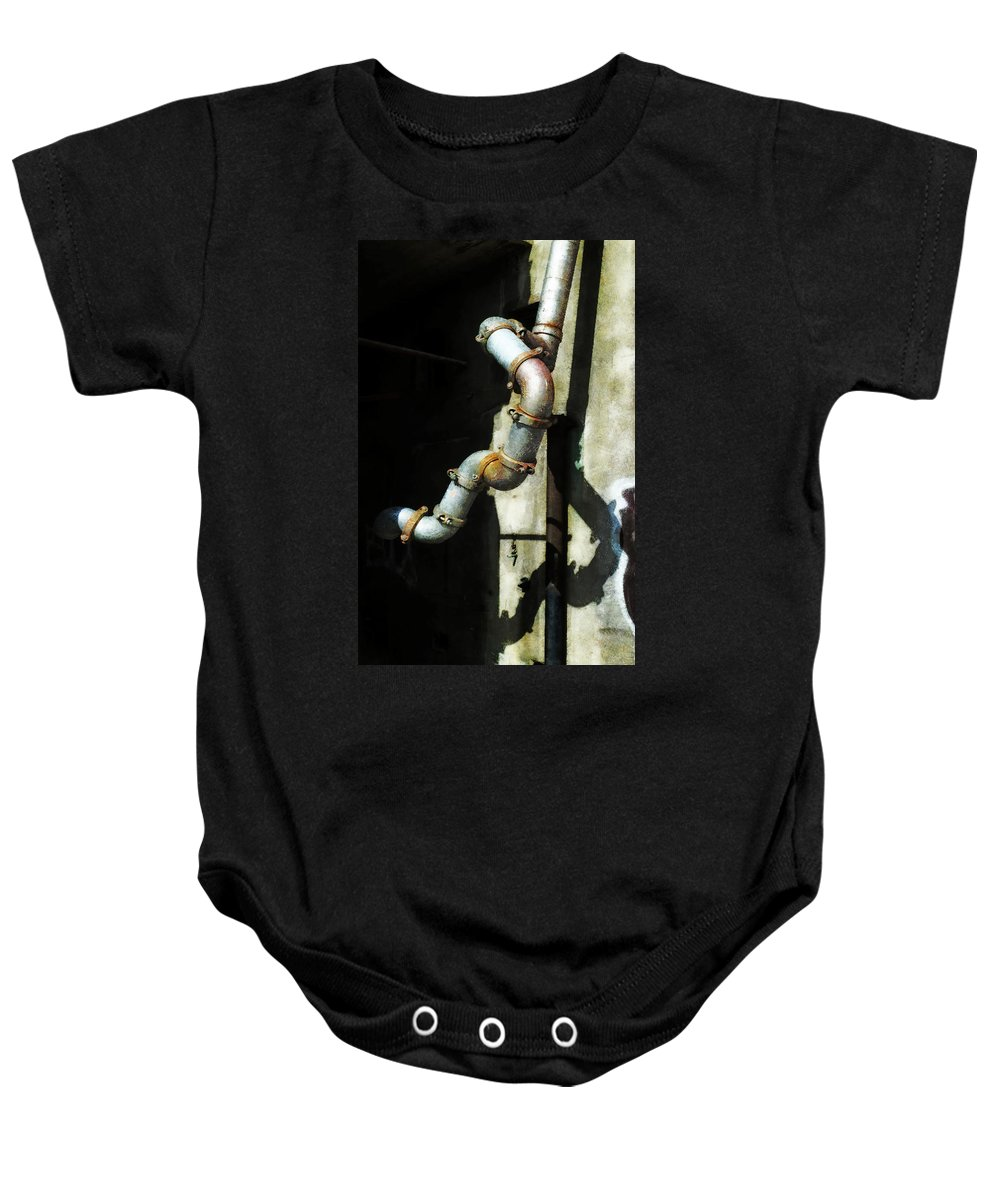 Sewage Baby Onesie featuring the photograph The Planning Department's Sewage Pipe by Steve Taylor