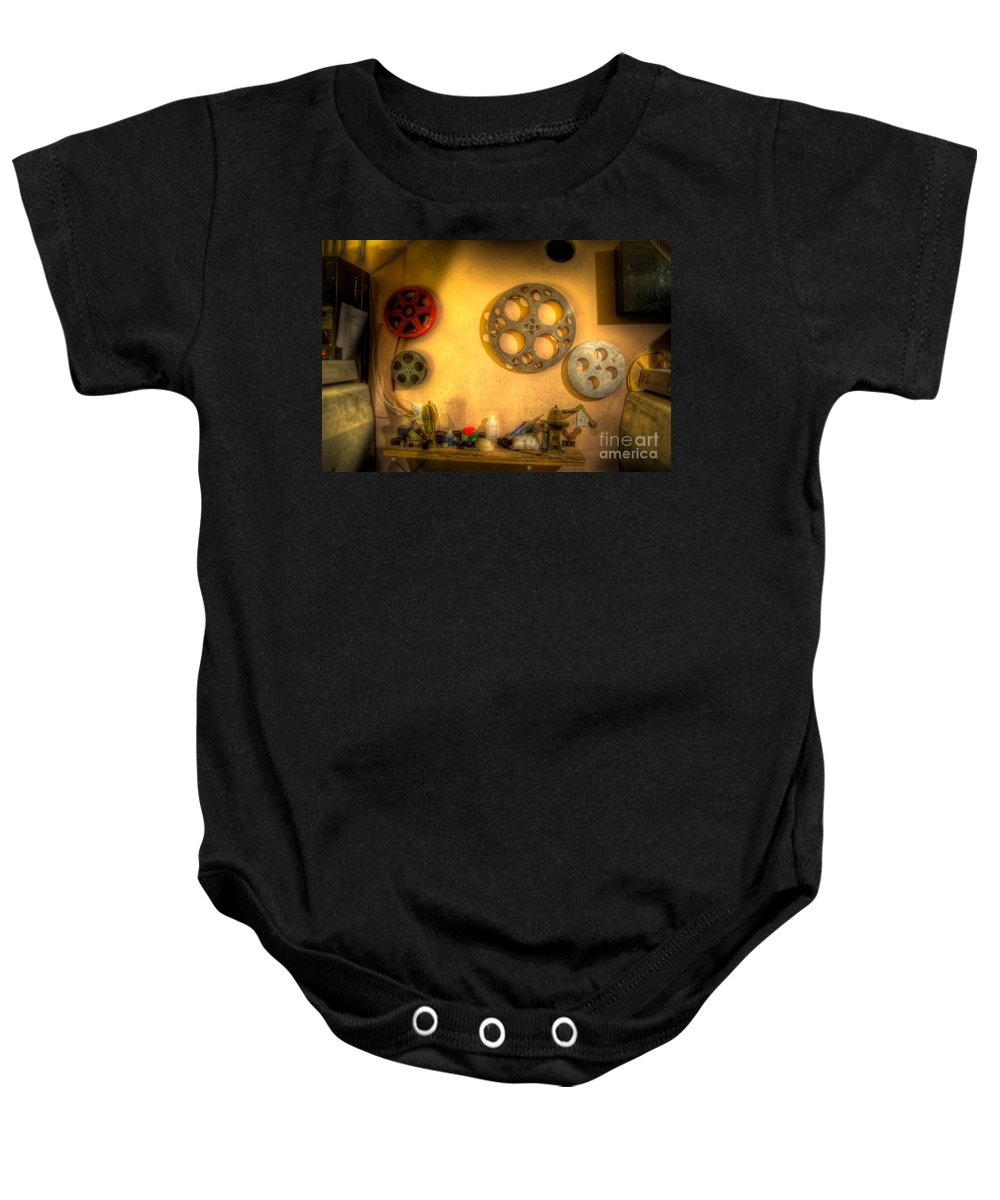 Hdr Baby Onesie featuring the photograph The Projection Room 4675 by Timothy Bischoff
