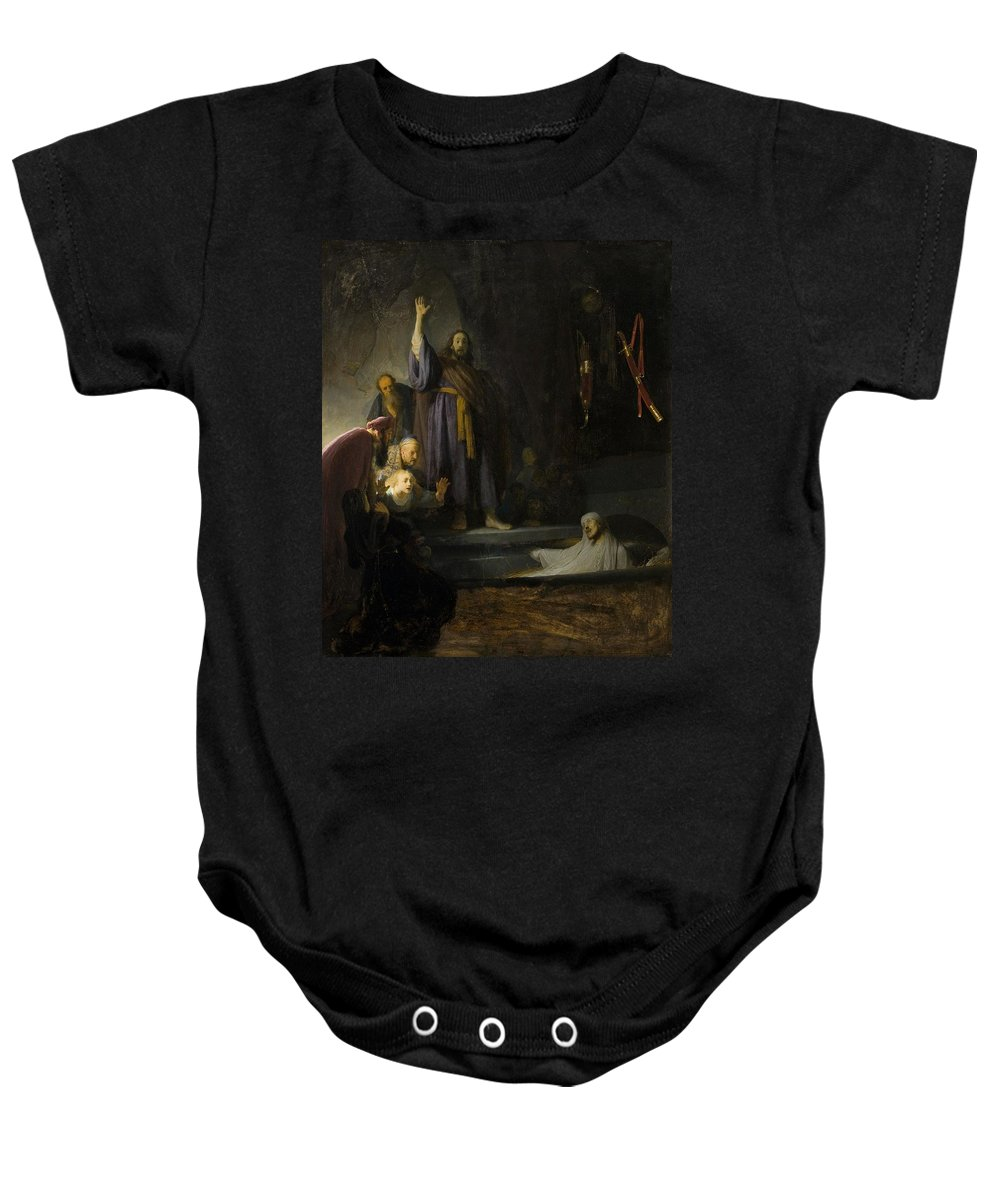 1630-1632 Baby Onesie featuring the painting The Raising Of Lazarus by Rembrandt van Rijn