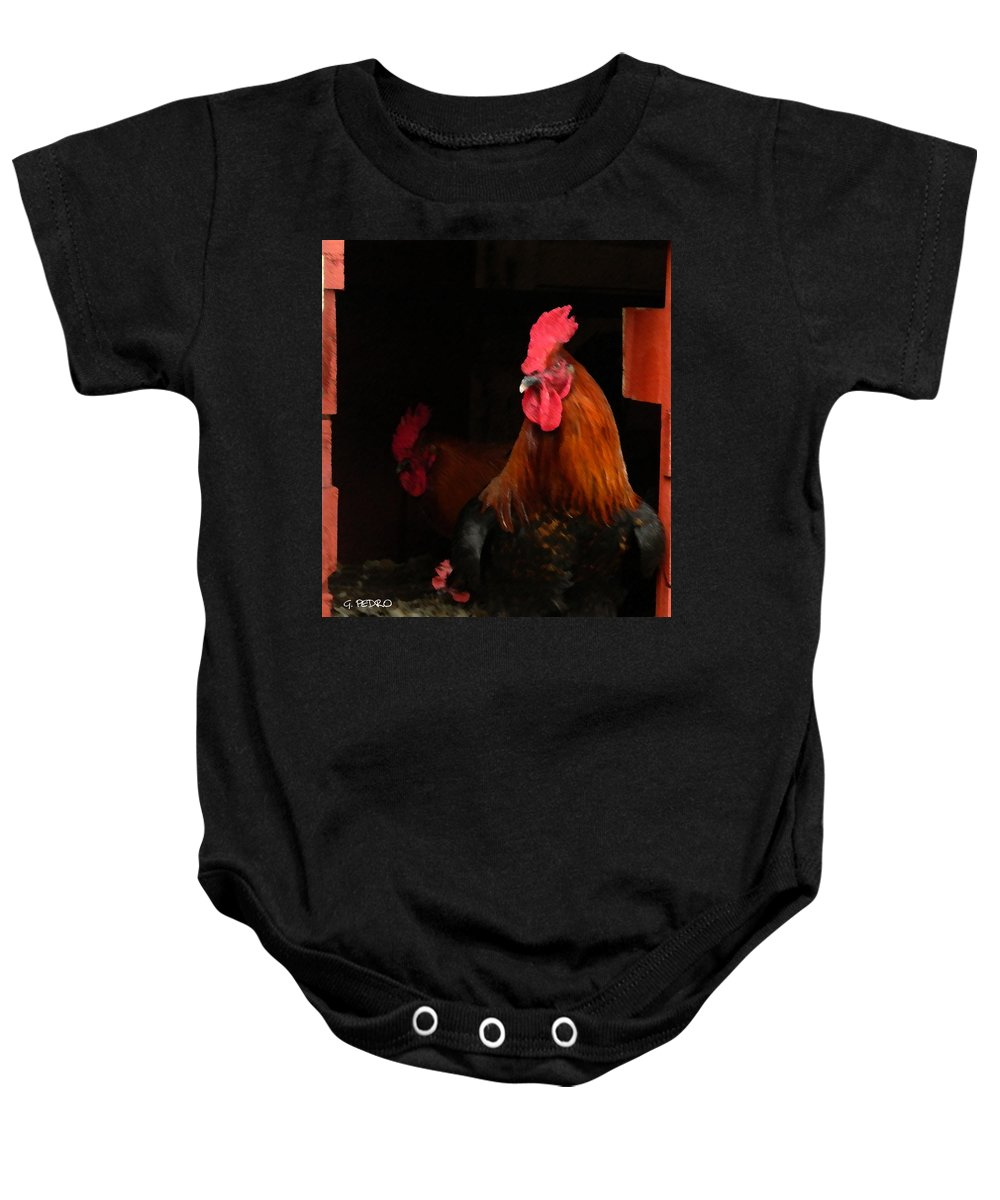 Cochin Baby Onesie featuring the painting the Roosters by George Pedro