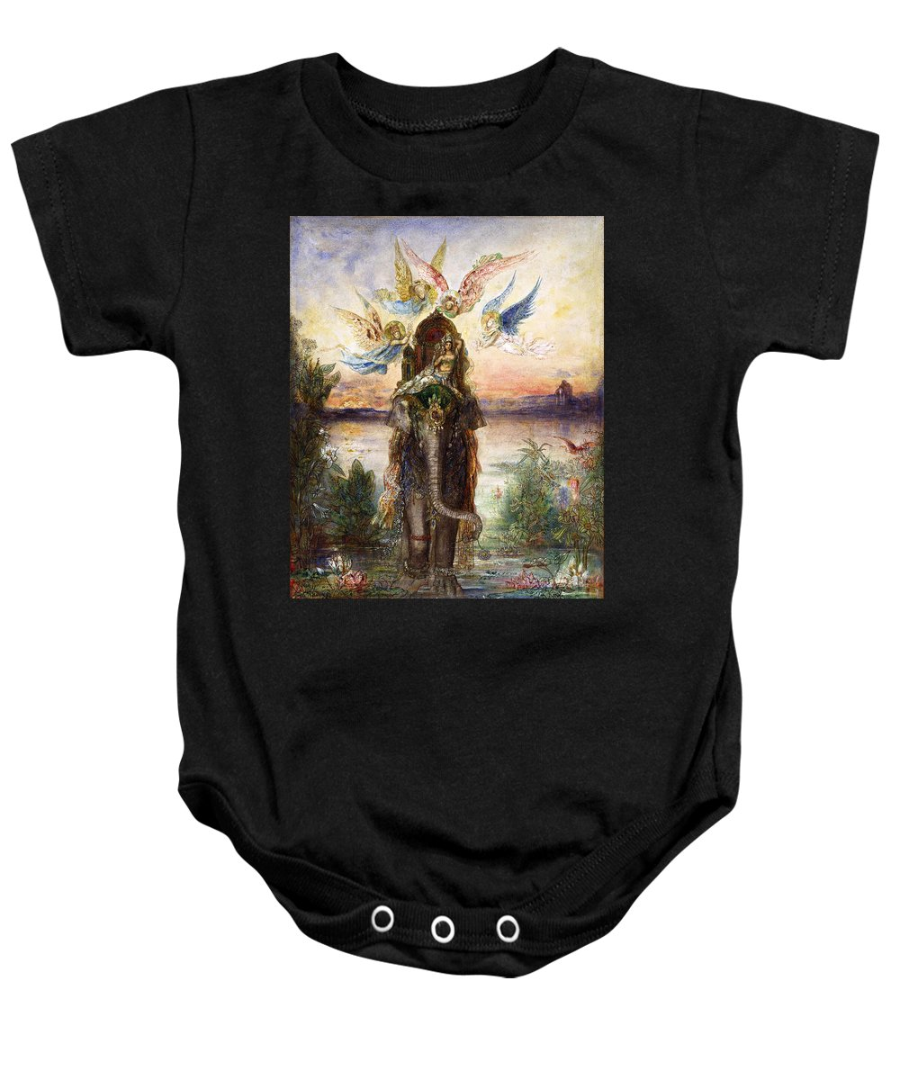 Gustave Moreau Baby Onesie featuring the painting The Sacred Elephant by Gustave Moreau