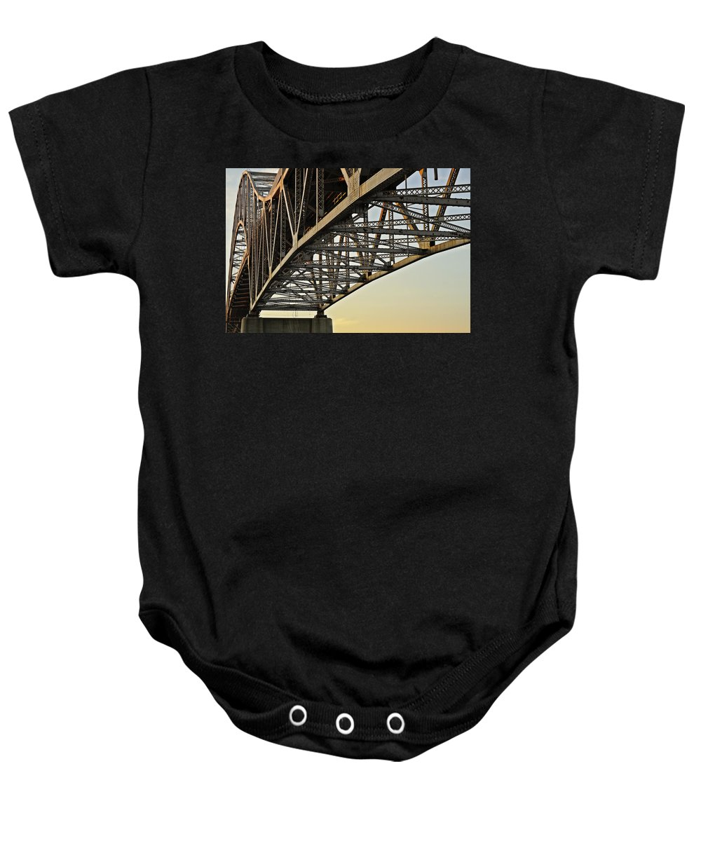 Sagamore Baby Onesie featuring the photograph The Sagamore Bridge by Luke Moore