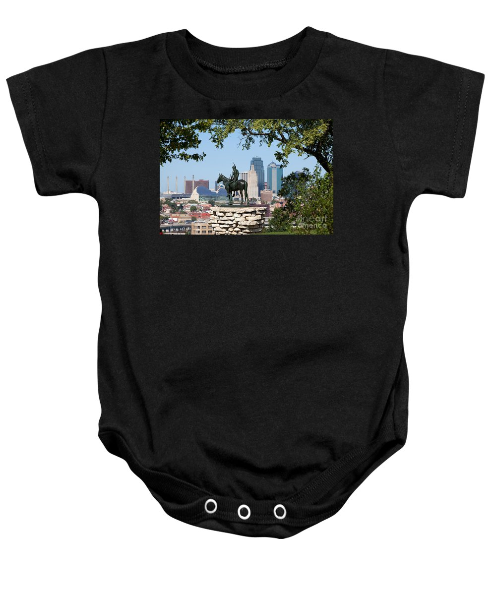 City Baby Onesie featuring the photograph The Scout Kansas City Missouri by Bill Cobb