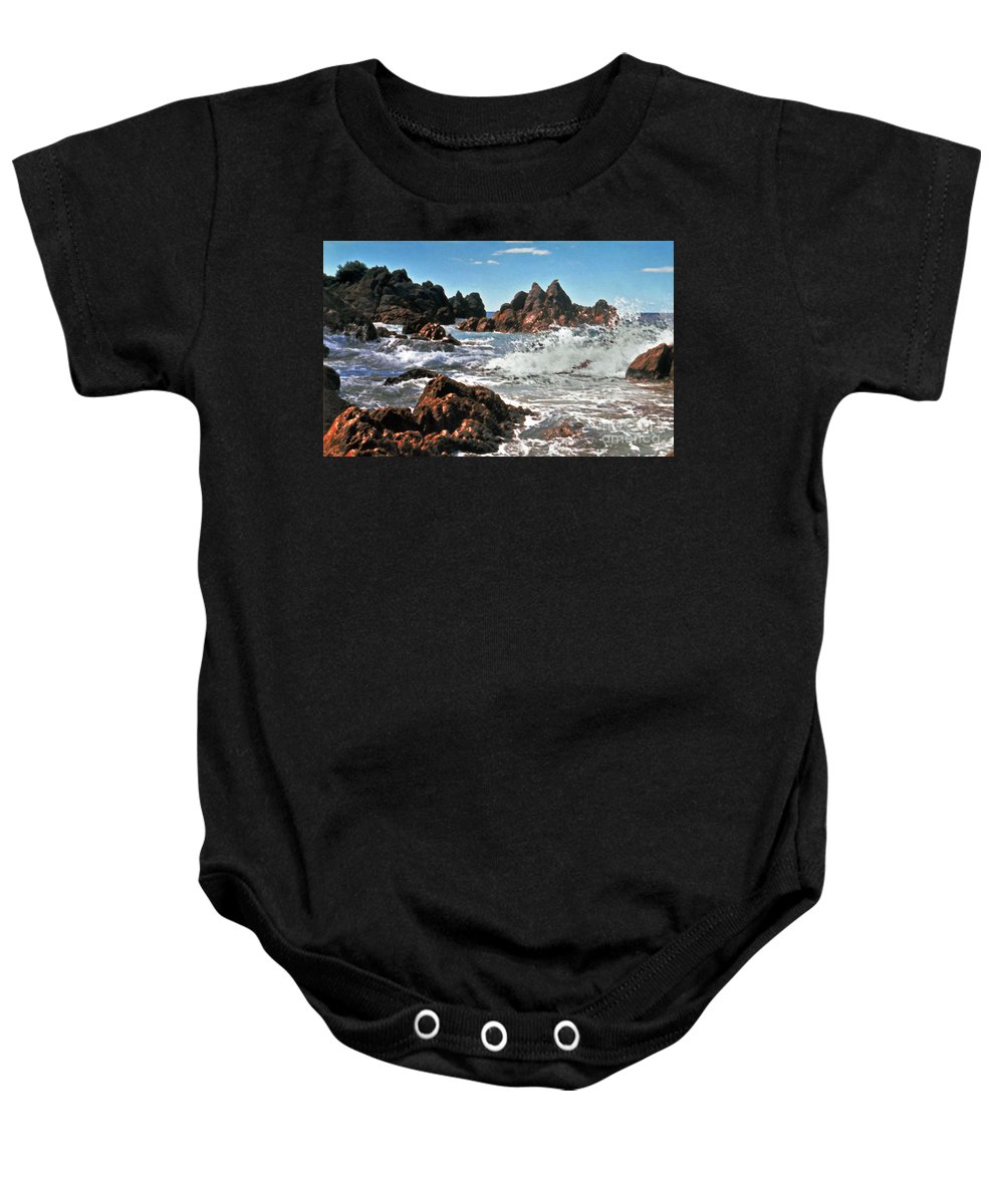 Mount Maunganui Baby Onesie featuring the photograph The Sea Abounds by Lydia Holly
