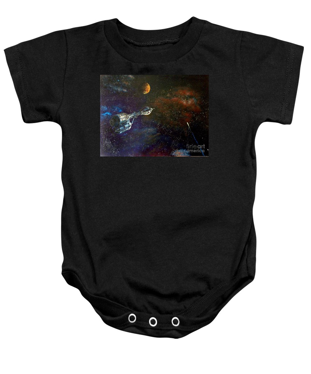 Vista Horizon Baby Onesie featuring the painting The Search for Earth by Murphy Elliott