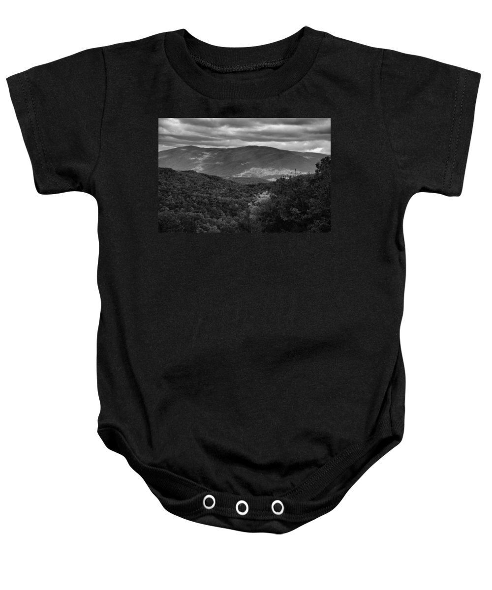 Smoky Mountain View Black And White Baby Onesie featuring the photograph The Smokies In Black And White by Dan Sproul