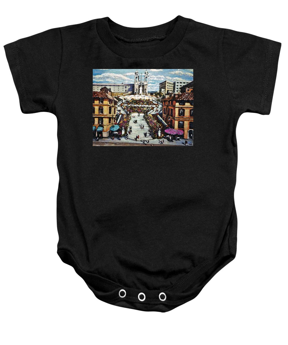 Landscape Baby Onesie featuring the painting The Spanish Steps by Rita Brown