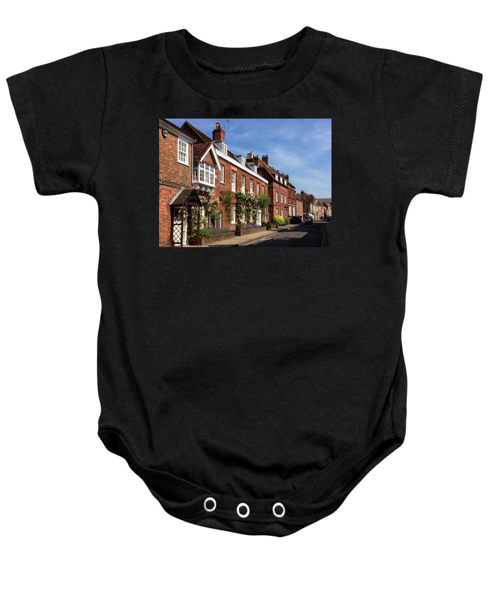 Winchester Baby Onesie featuring the photograph The Streets Of Winchester England by Lois Ivancin Tavaf