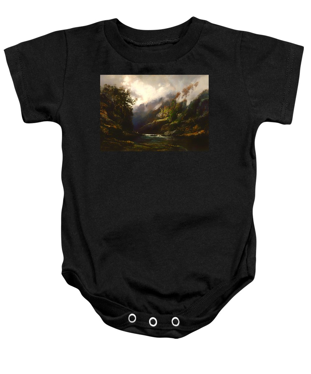 Painting Baby Onesie featuring the painting The Upper Nepean by Mountain Dreams