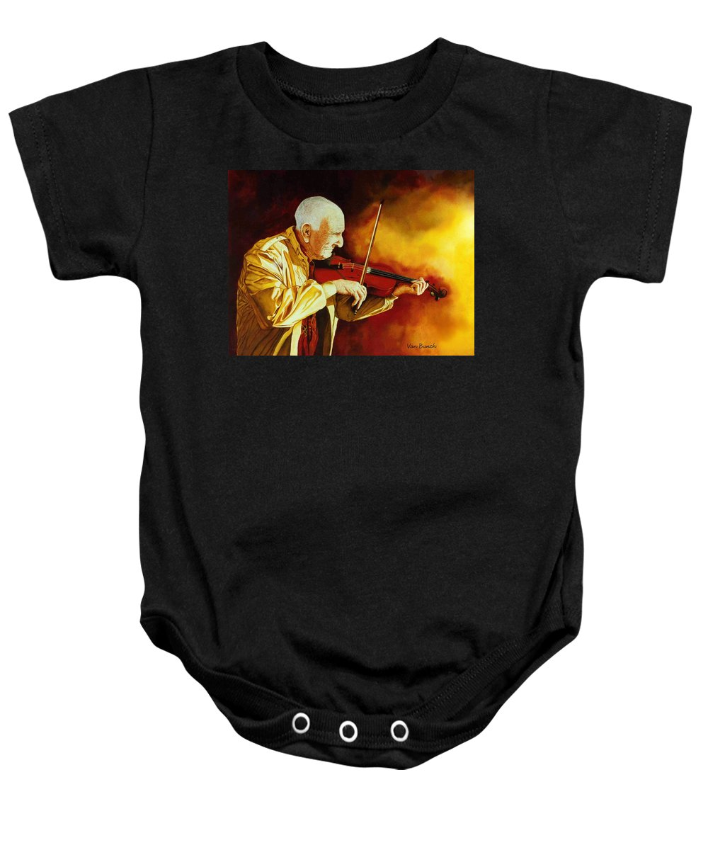 Violin Baby Onesie featuring the painting The Violinist by Van Bunch