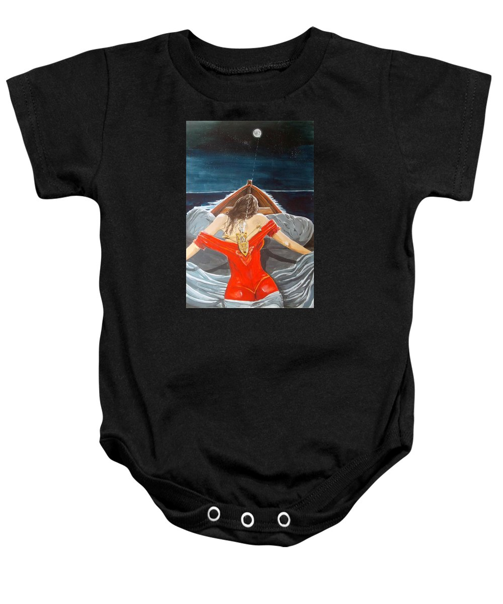 Woman Baby Onesie featuring the painting The Whims Of The Moon by Lazaro Hurtado