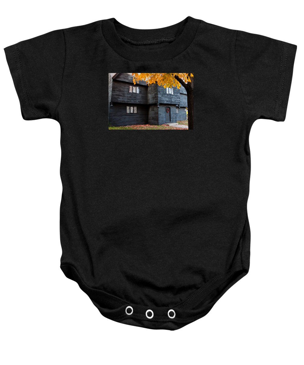 Salem Baby Onesie featuring the photograph The Witch House by Jeff Folger