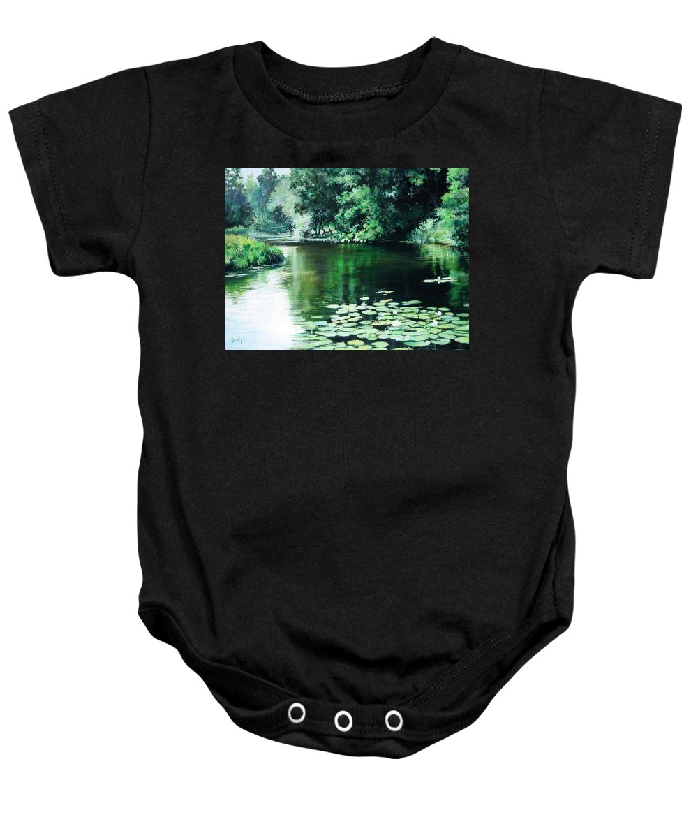 Landscape Baby Onesie featuring the painting Their Spot by William Brody