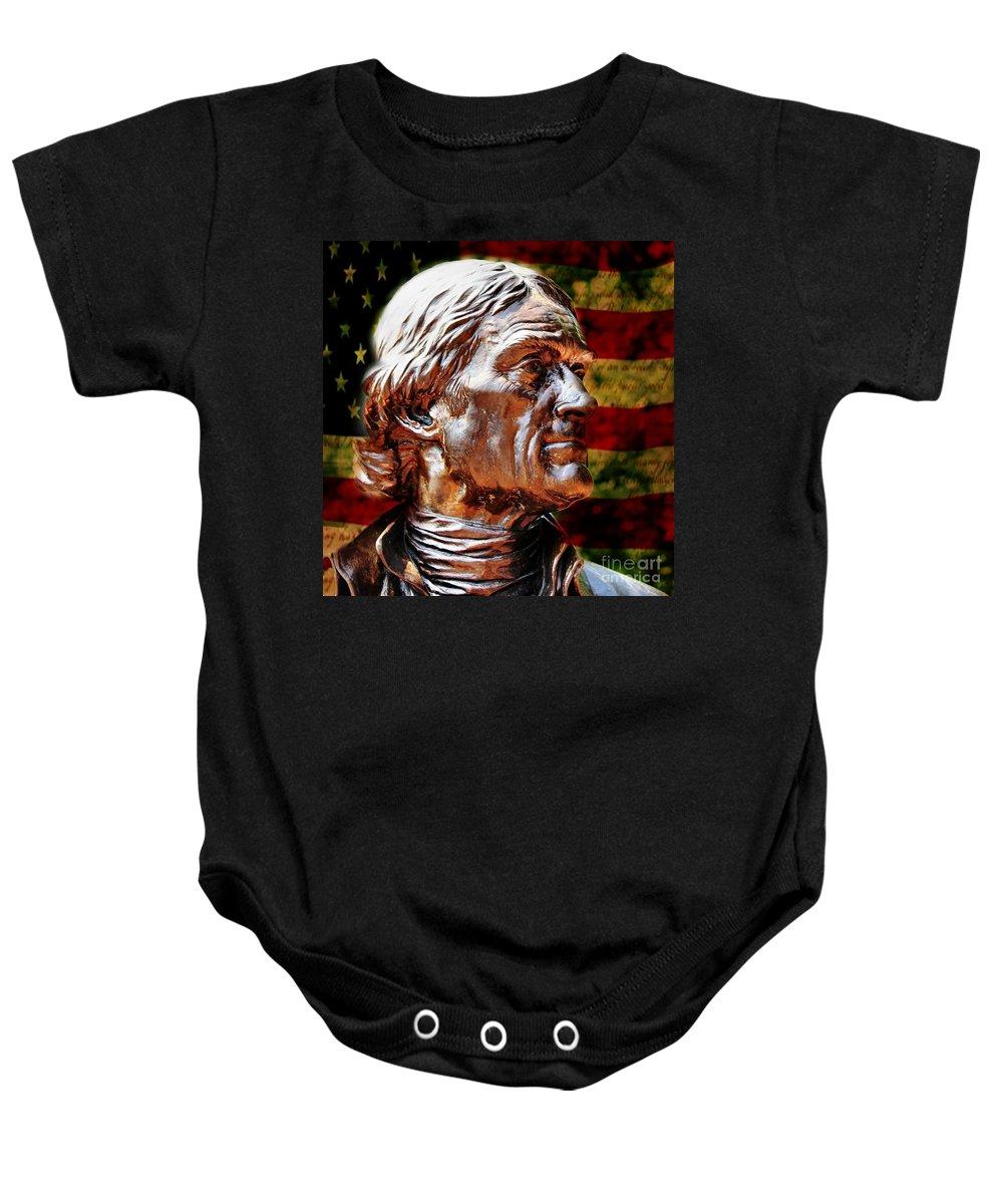 Thomas Jefferson Baby Onesie featuring the photograph Thomas Jefferson Statue by Judy Palkimas