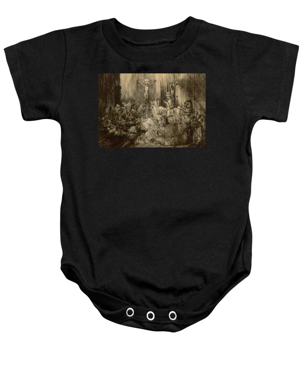 Christ Baby Onesie featuring the drawing Three Crucifixes by Rembrandt Harmenszoon van Rijn
