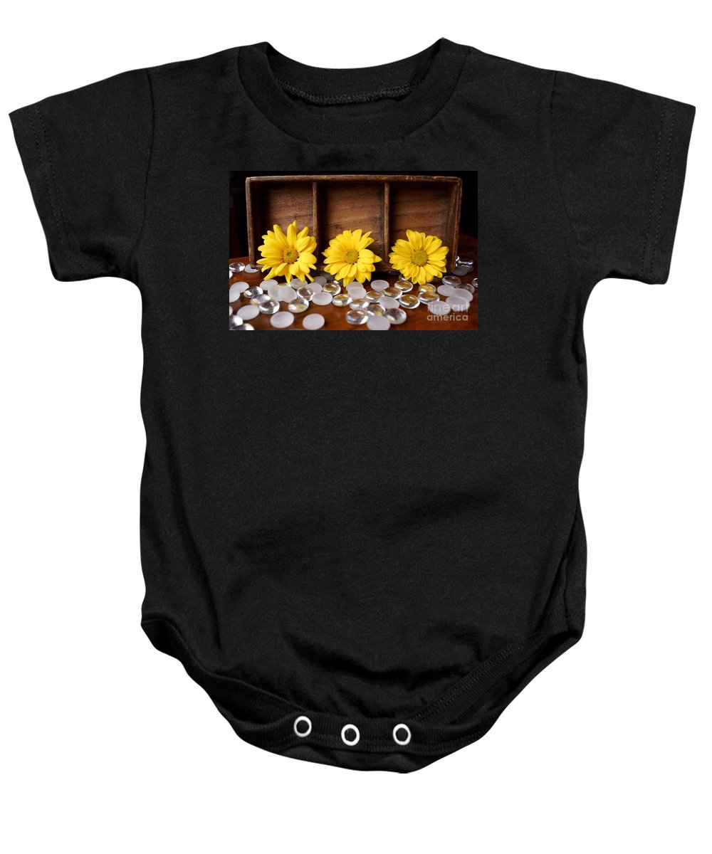 Flower Baby Onesie featuring the photograph Three Daisy Shadowbox by Kerri Mortenson
