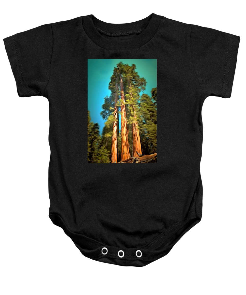 Three Giant Sequoias Digital Baby Onesie featuring the painting Three Giant Sequoias Digital by Barbara Snyder