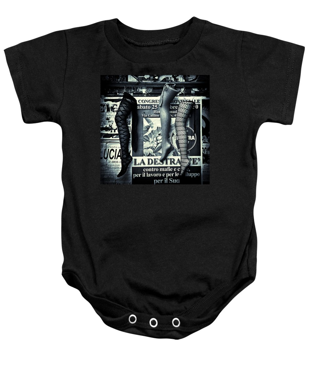 Mannequin Baby Onesie featuring the photograph Three Mannequin Legs by Dave Bowman