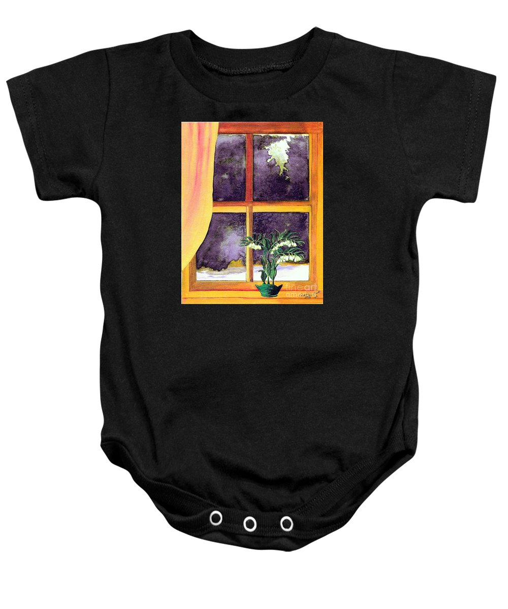Fine Art Baby Onesie featuring the painting Through The Window by Patricia Griffin Brett