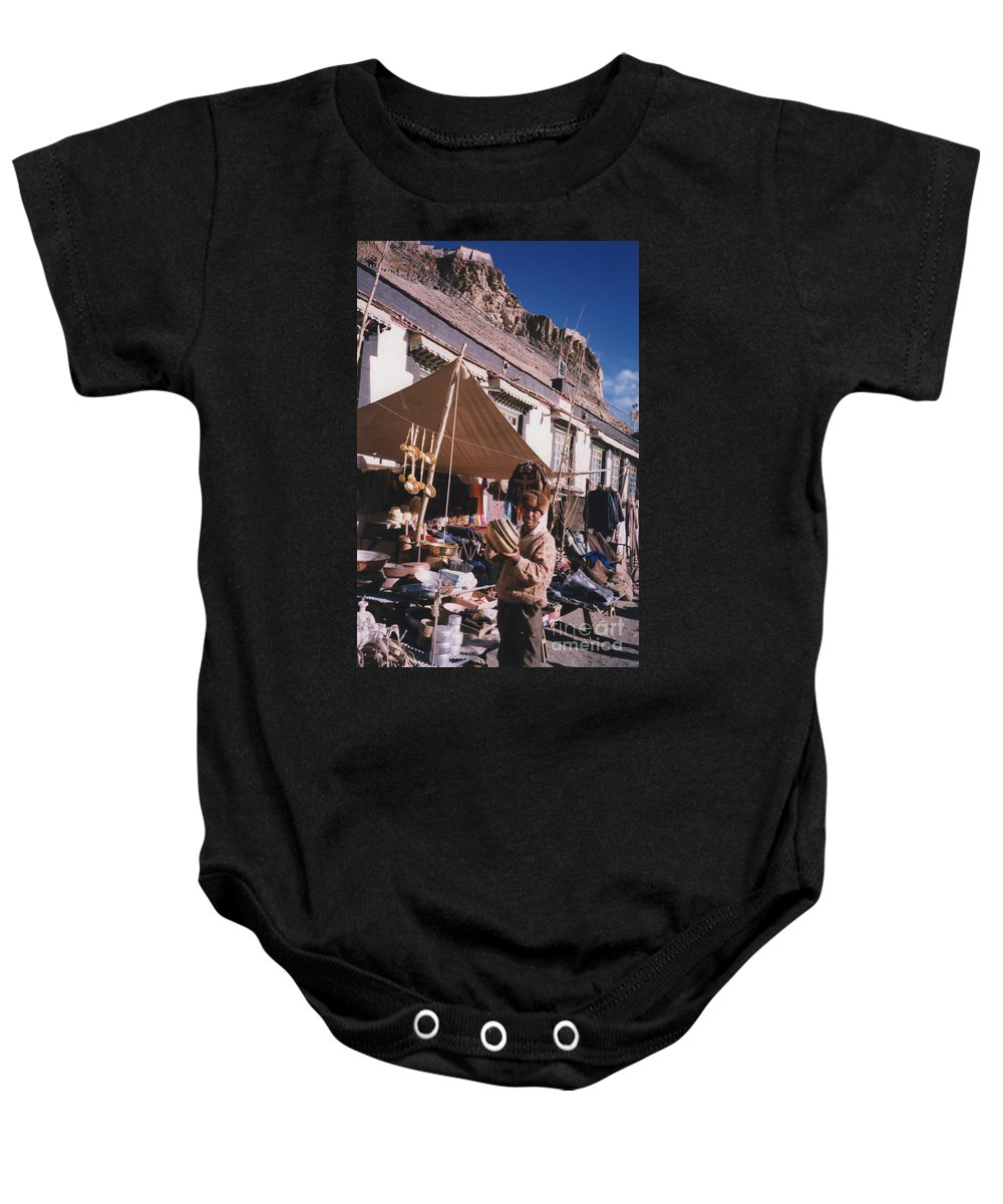 First Star Baby Onesie featuring the photograph Tibet Market At Gyantse By Jrr by First Star Art