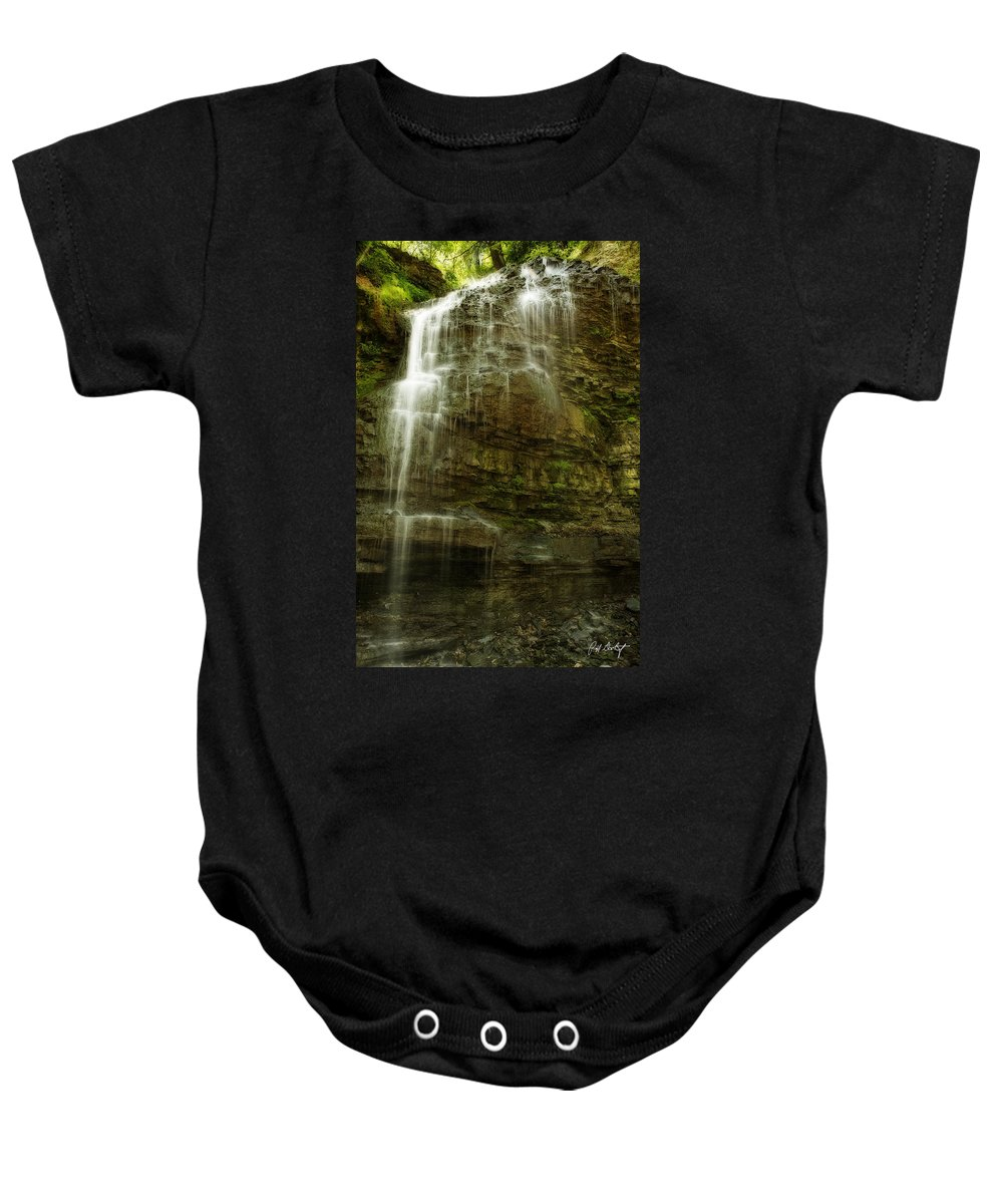 Tiffany Falls Baby Onesie featuring the photograph Tiffany Falls by Phill Doherty