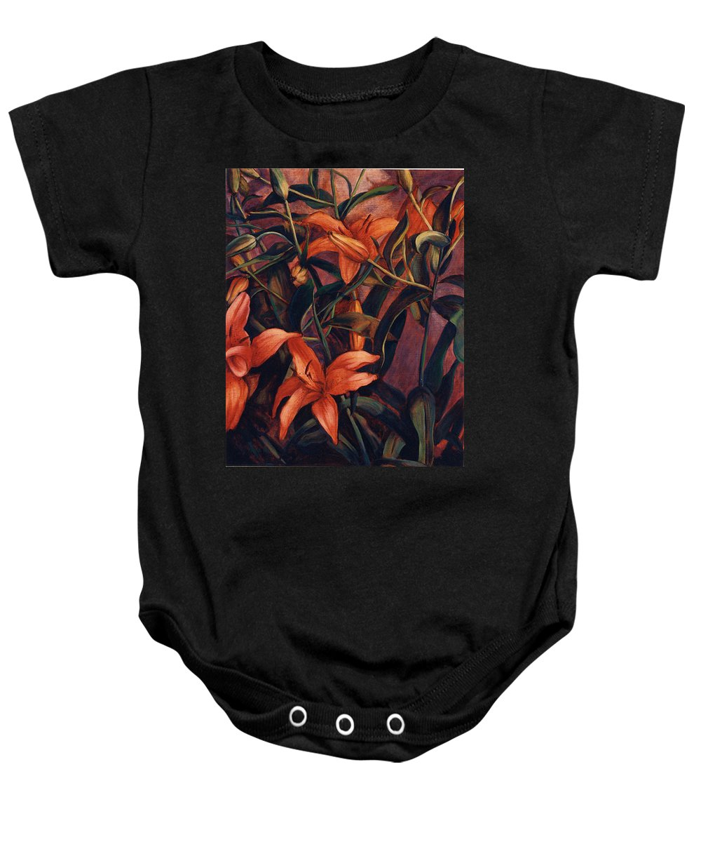 Tiger Baby Onesie featuring the painting Tiger Lilies by Konnie Kim
