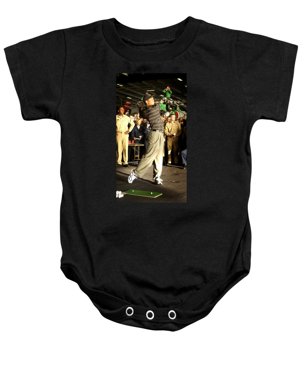Tiger Woods Baby Onesie featuring the digital art Tiger Woods by Brien Aho