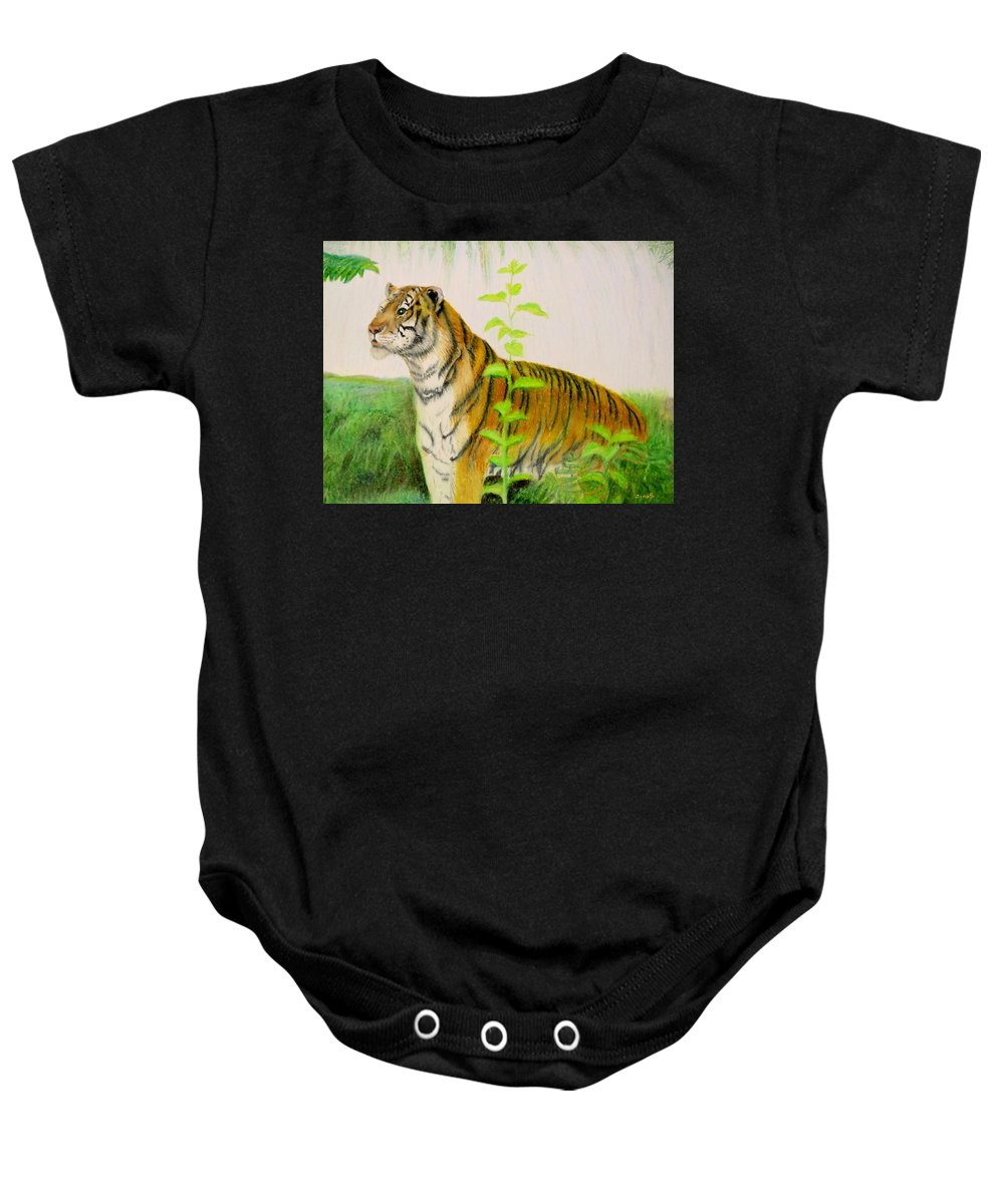 Tiger Baby Onesie featuring the drawing Tiger by Zina Stromberg