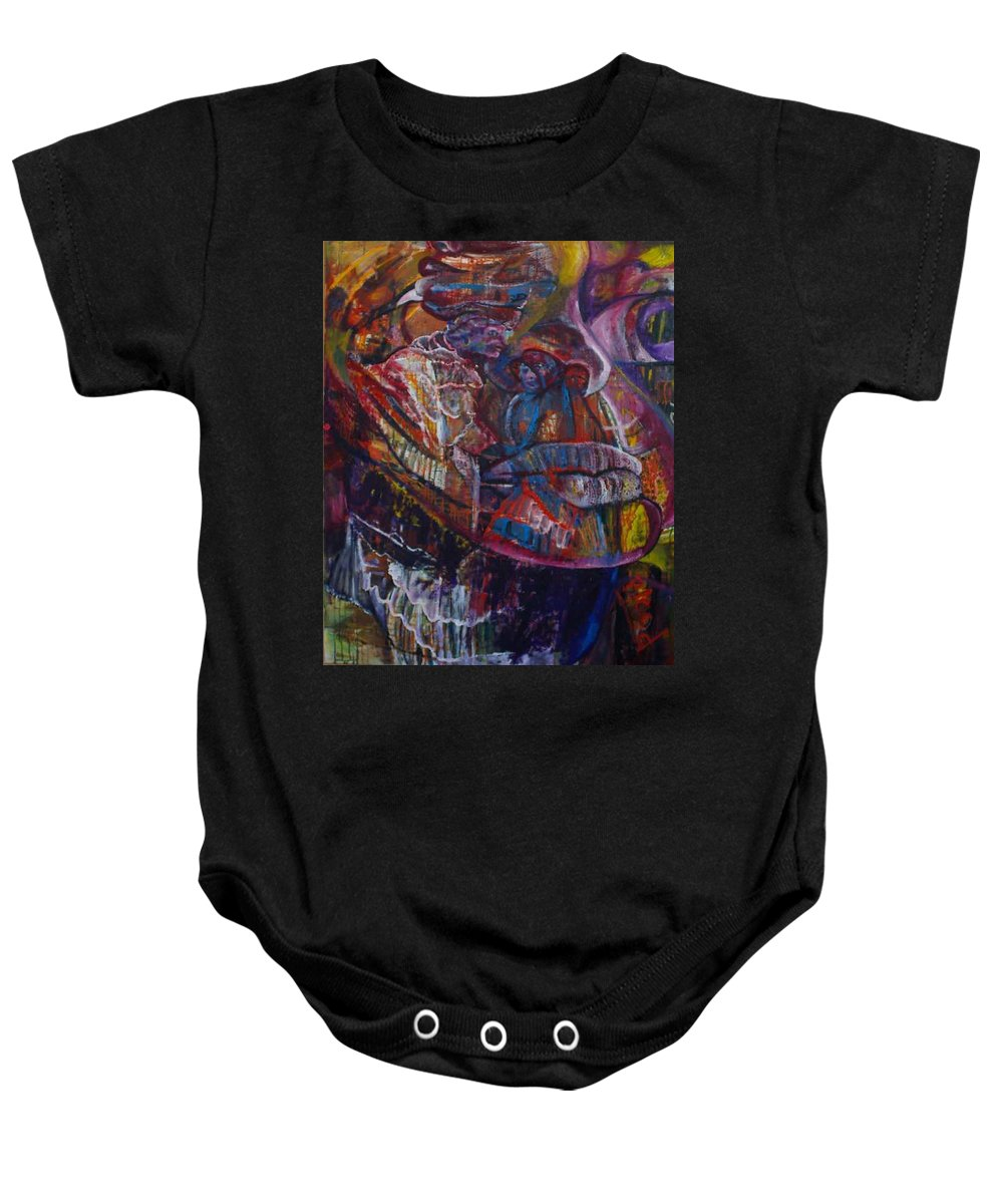African Women Baby Onesie featuring the painting Tikor Woman by Peggy Blood