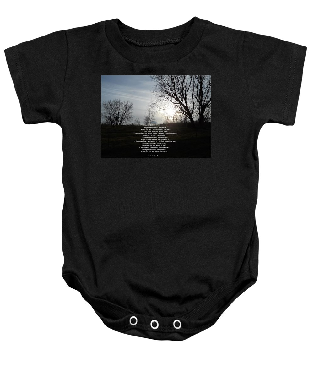 Quotes Baby Onesie featuring the photograph Time And Seasons by Coleen Harty