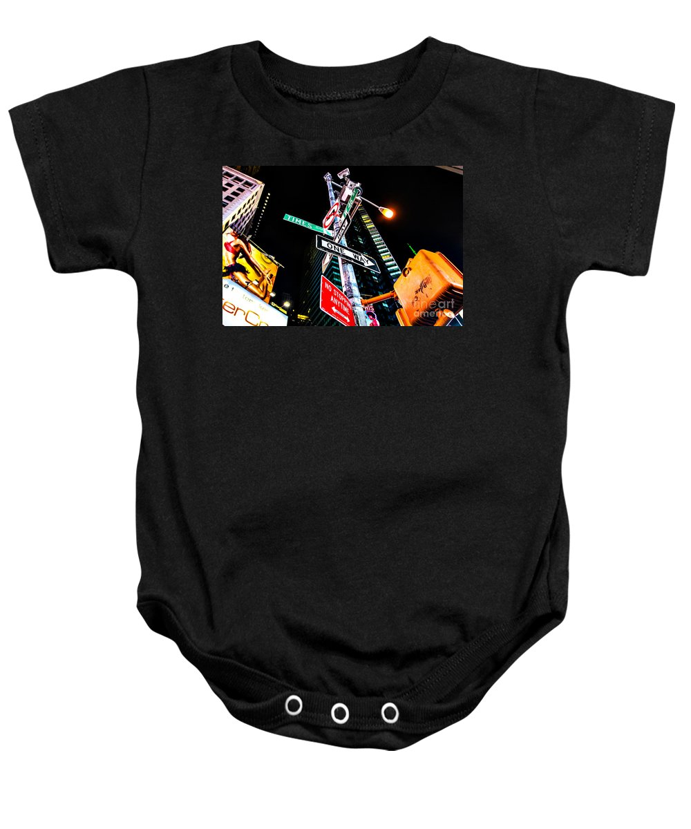 Streets Of New York Baby Onesie featuring the photograph Times Square by Digital Kulprits