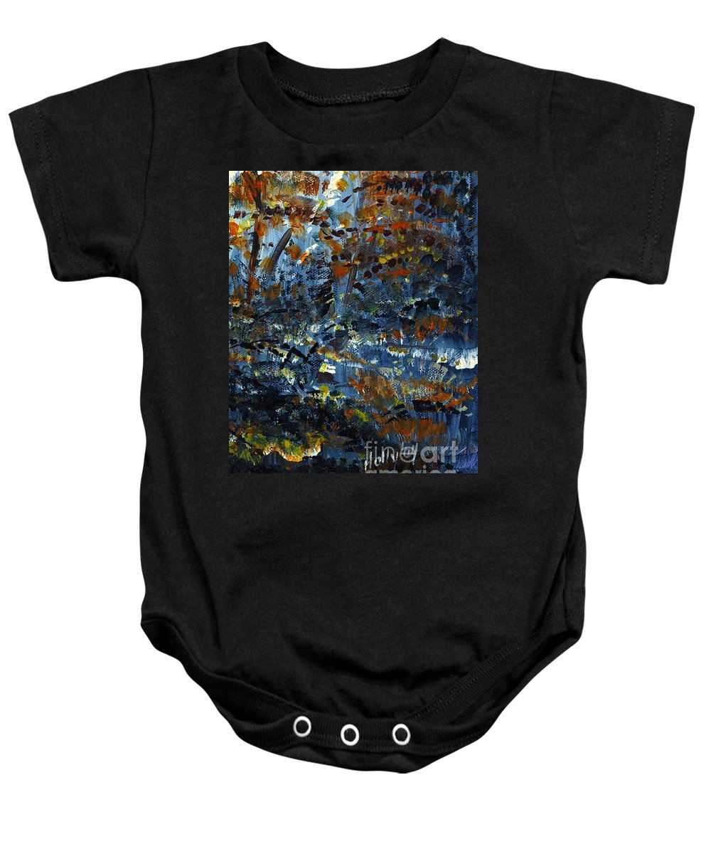 Autumn Baby Onesie featuring the painting Tim's Autumn Trees by Holly Carmichael