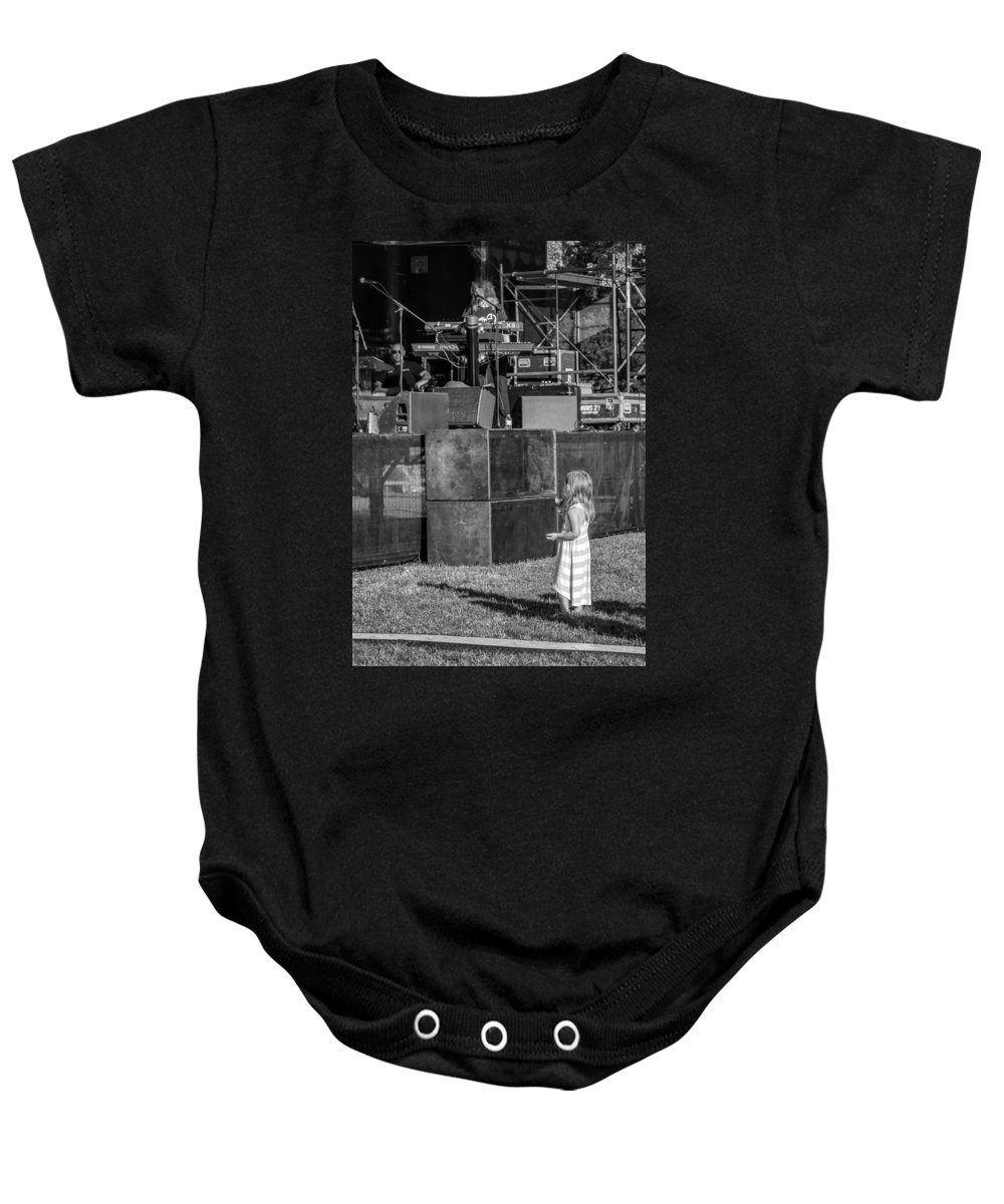 Bolton Baby Onesie featuring the photograph Tiny Dreamer Monochrome by Steve Harrington