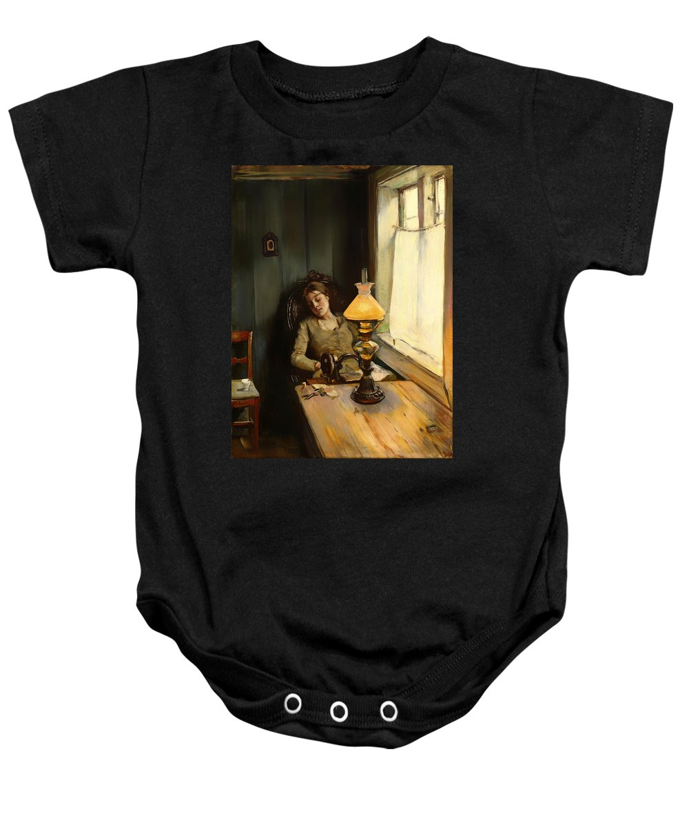 Painting Baby Onesie featuring the painting Tired by Mountain Dreams