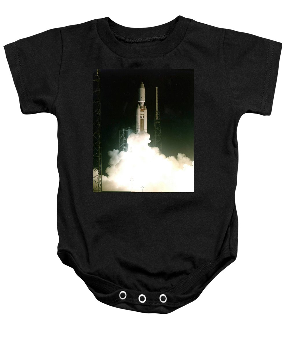 Astronomy Baby Onesie featuring the photograph Titan Iv-b Launch by Science Source