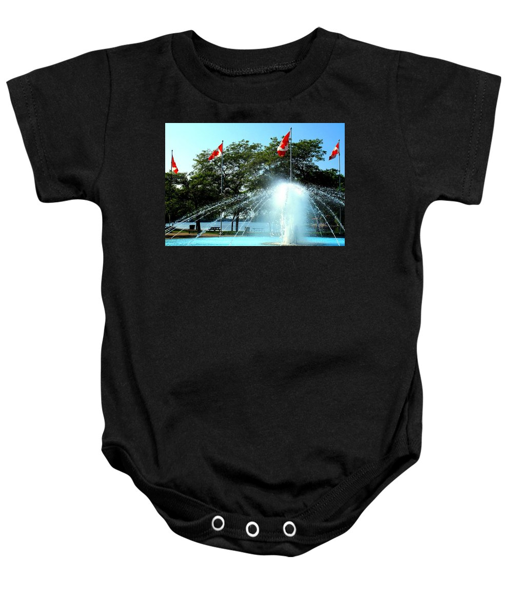 Toronto Baby Onesie featuring the photograph Toronto Island Fountain by Ian MacDonald