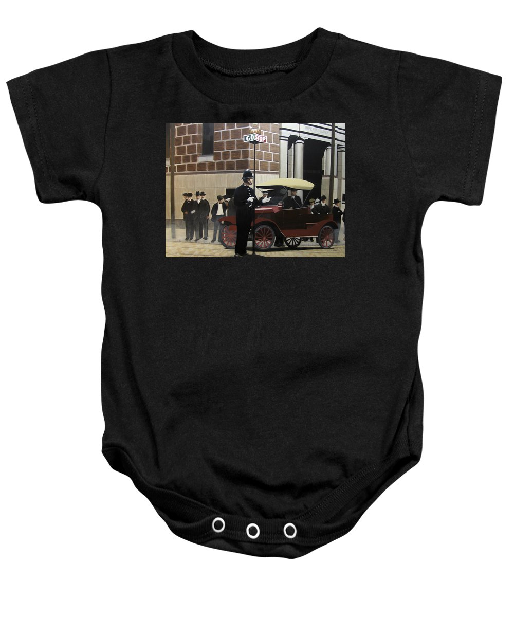 Streetscapes Baby Onesie featuring the painting Toronto Traffic Cop 1912 by Kenneth M Kirsch