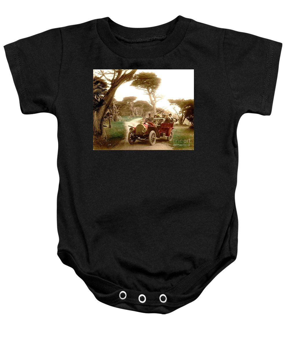 Royal Tourist Baby Onesie featuring the photograph Royal Tourist Touring Car On The 17 Mile Drive Pebble Beach California Circa 1910 by California Views Archives Mr Pat Hathaway Archives