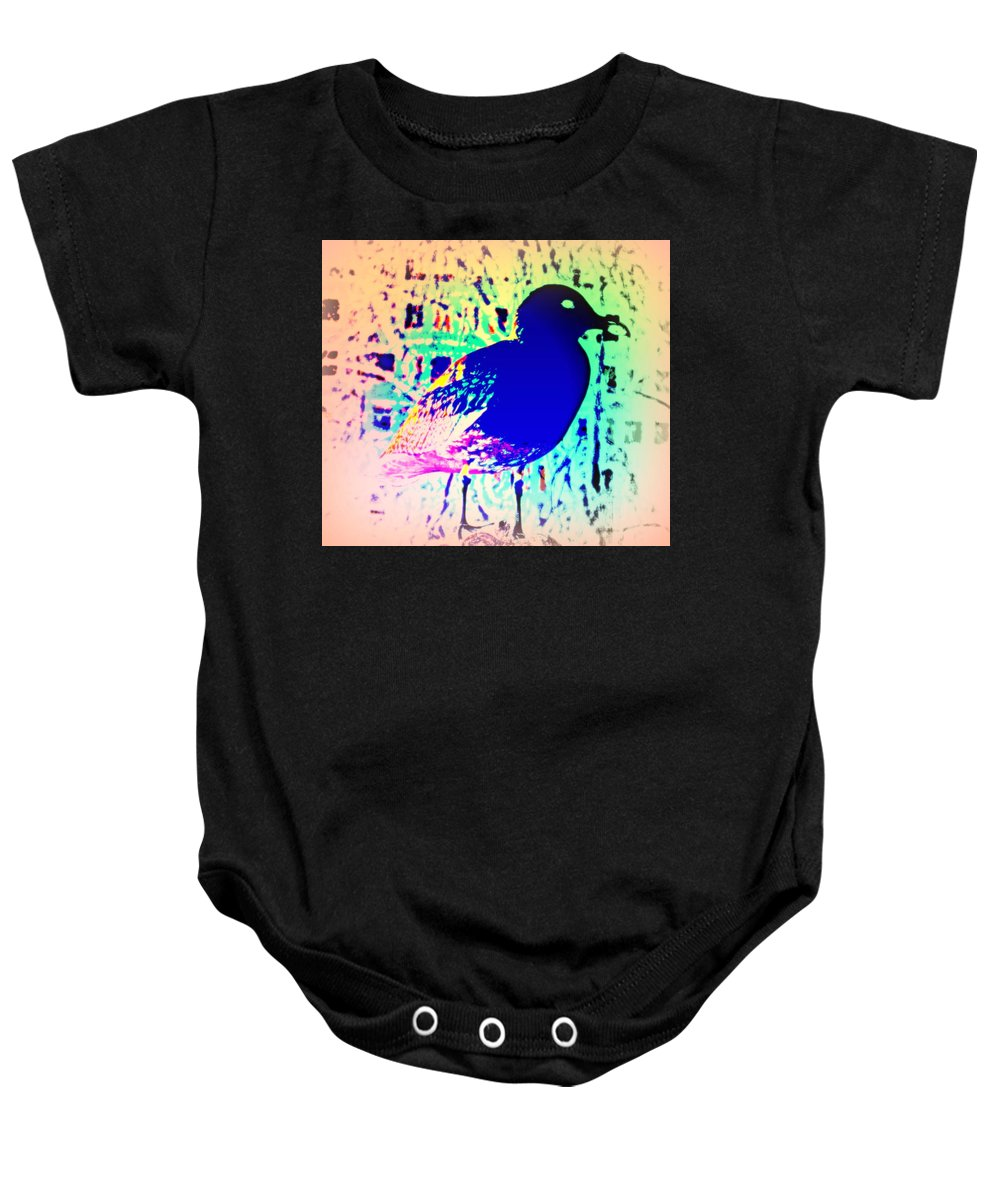 Dog Baby Onesie featuring the photograph The Fragile Traces Of A Lost Seagull by Hilde Widerberg