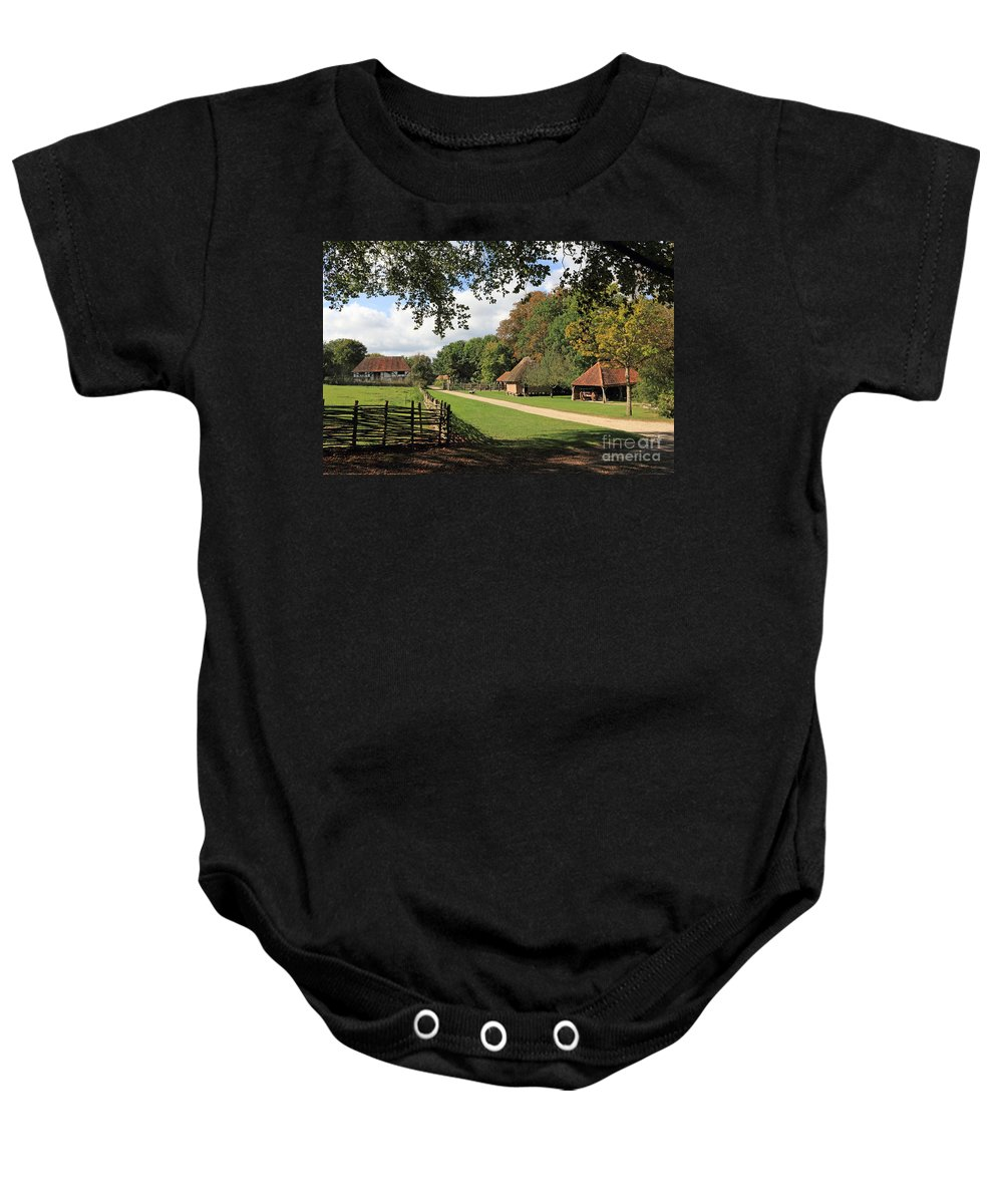 Traditional Old Cottage Britain Countryside Baby Onesie featuring the photograph Traditional Countryside Britain by Julia Gavin