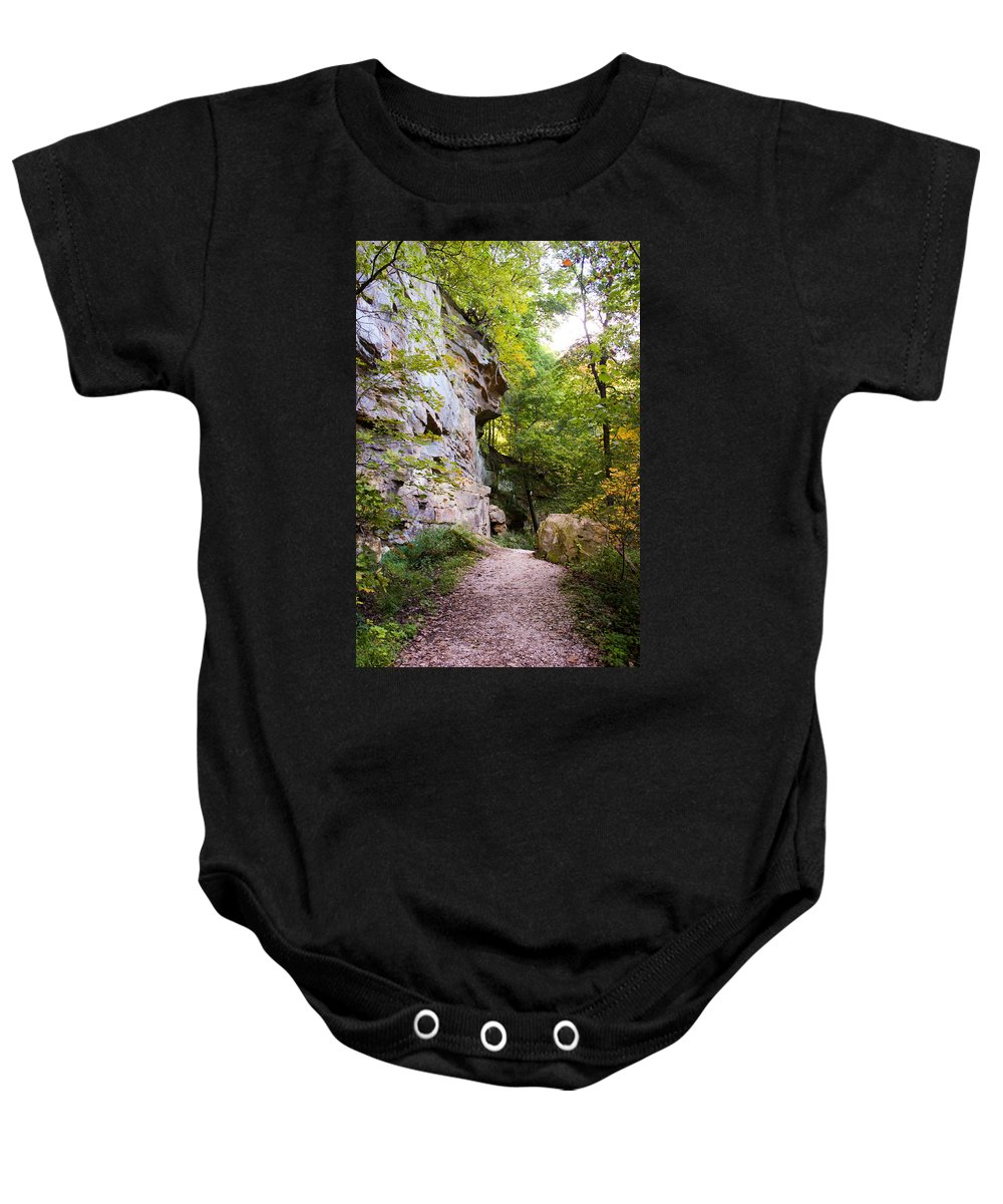Rocky Cliff Wildcat Den Muscatine Ia Baby Onesie featuring the photograph Trail Beside The Cliff Wildcat Den State Park by Cynthia Woods