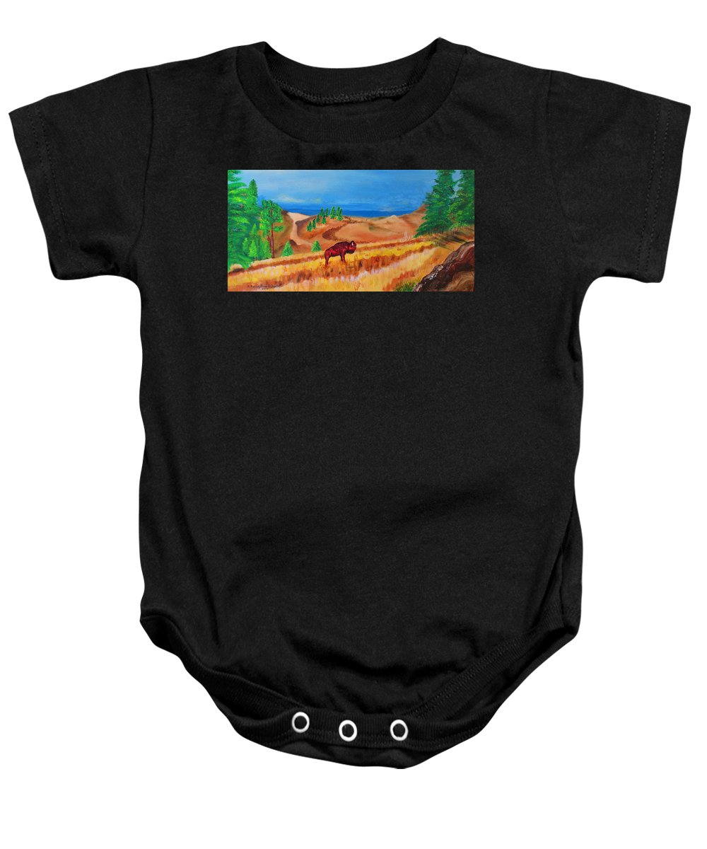 Art Baby Onesie featuring the painting Monarch Of The Plains by Ashley Goforth