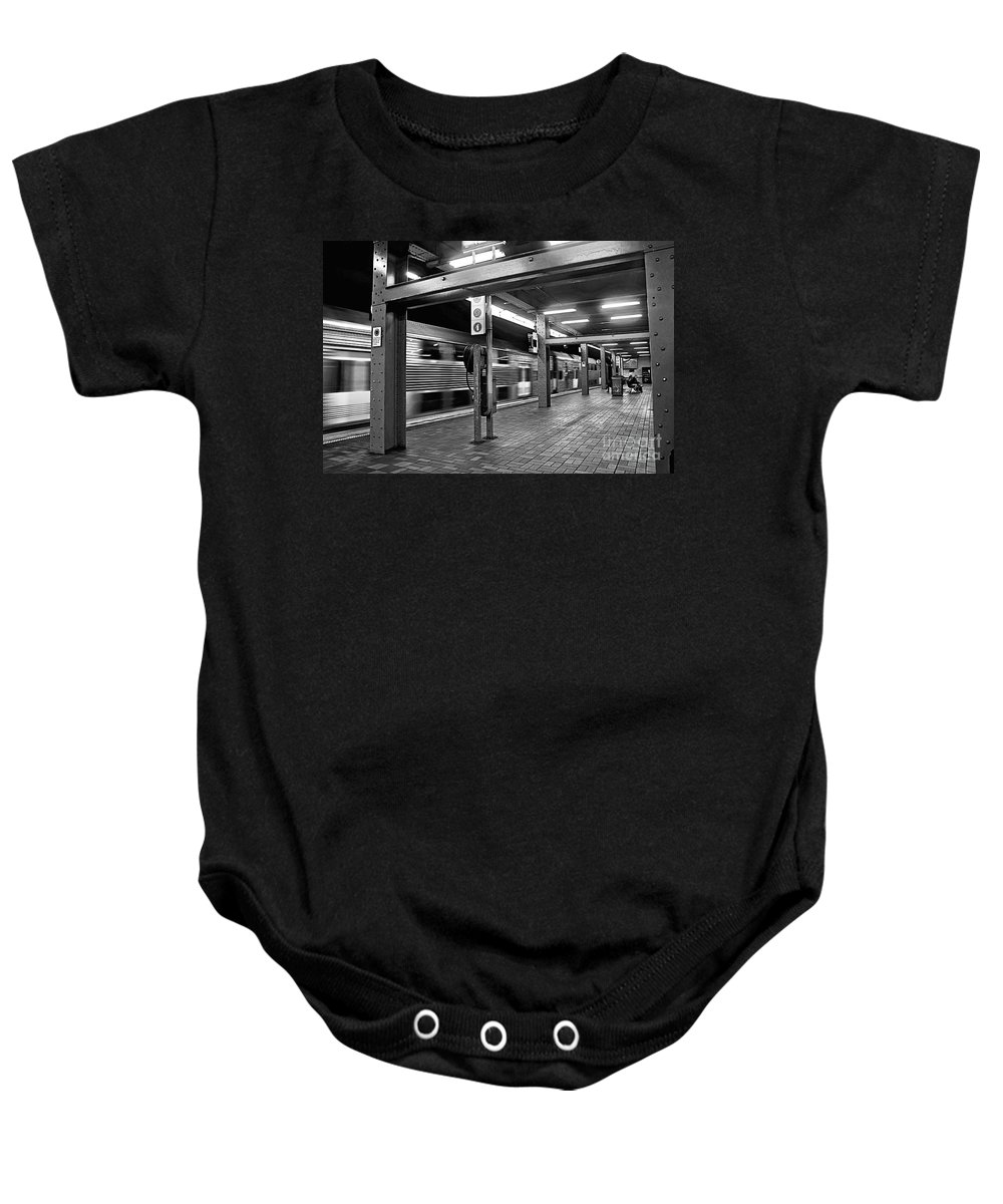 Photography Baby Onesie featuring the photograph Train Passing by Kaye Menner