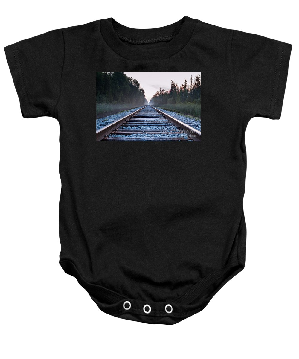 Train Tracks Baby Onesie featuring the photograph Train Tracks To Nowhere by Patrick Shupert