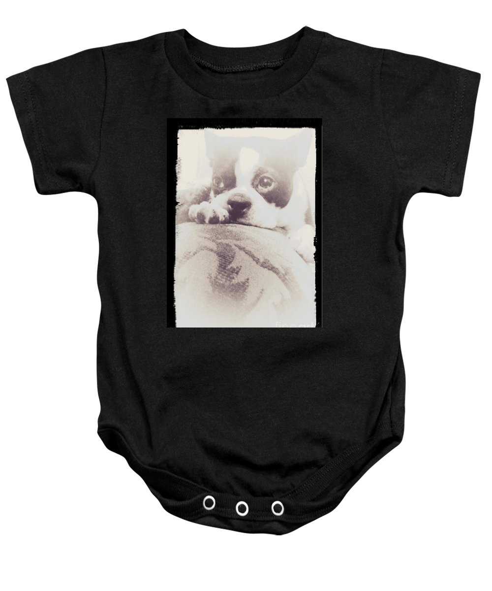 Boston Terrier Baby Onesie featuring the photograph Treasured Friend by Heather Taylor