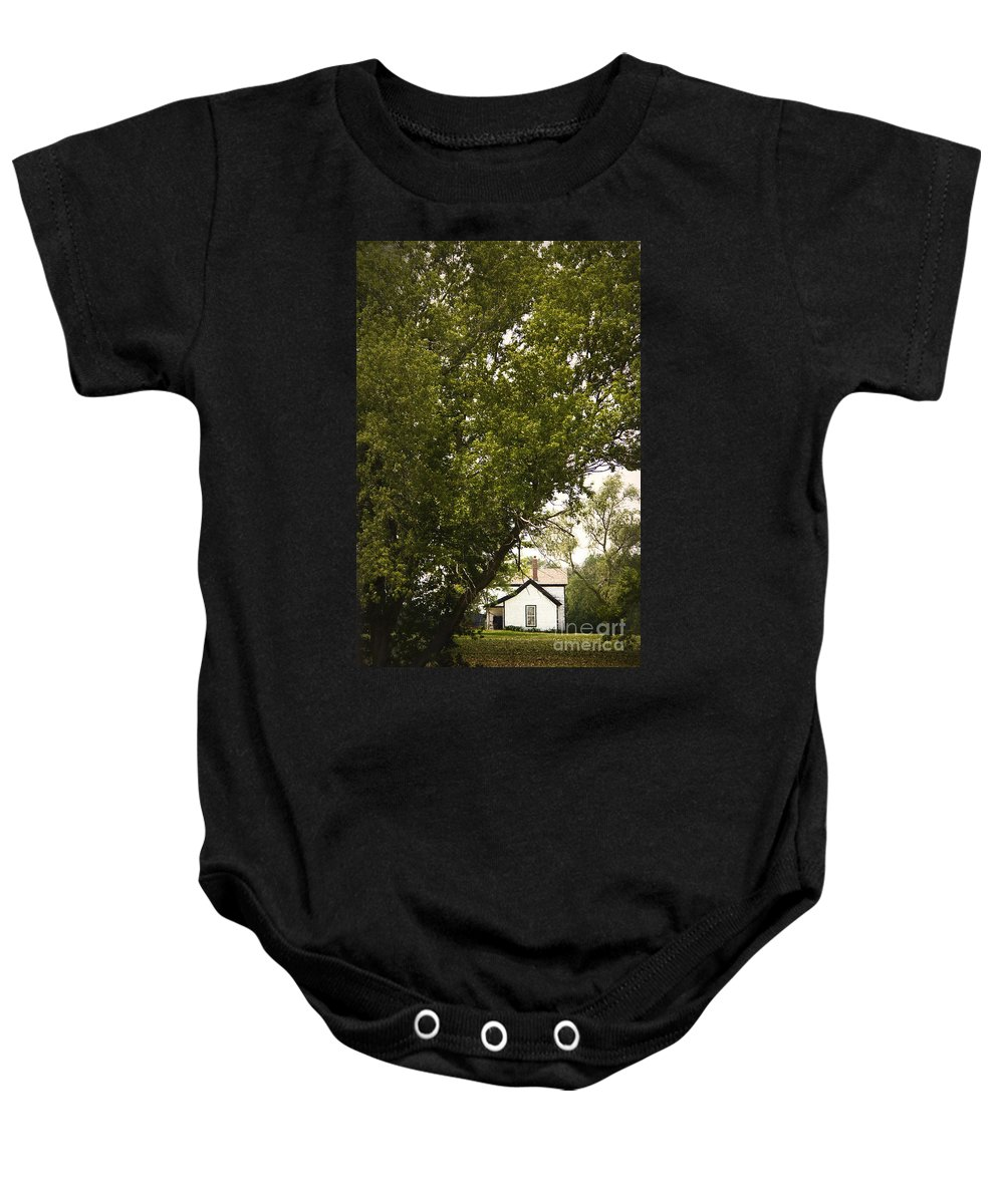 Trees; Many; Summer; Hidden; Hiding; Lush; Full; Leaves; Place; Outside; Outdoors; Nature; Landscape; Land; House; Home; Country; Countryside; Rural; White; Window; Secluded Baby Onesie featuring the photograph Tree Covered by Margie Hurwich