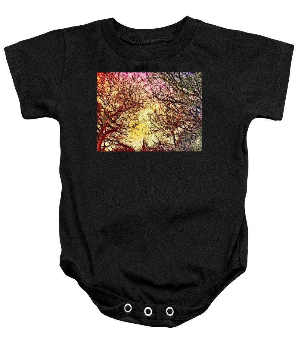 Digital Art Baby Onesie featuring the digital art Trees Of The Four Seasons by Kaye Menner
